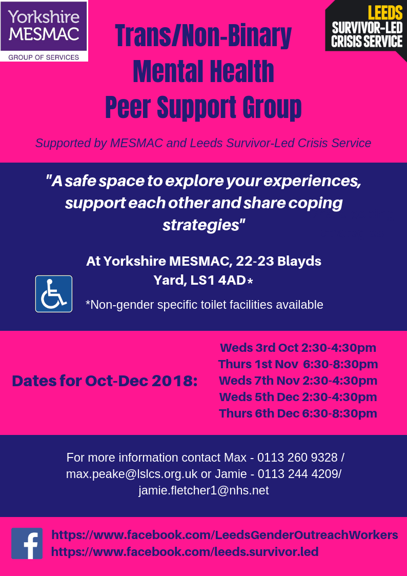 Trans Non Binary Support Group Oct 18