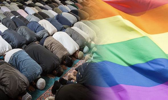 Image of muslims praying and a rainbow LGBT+ flag