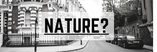 Black and white photo of a city street with the text, Nature?