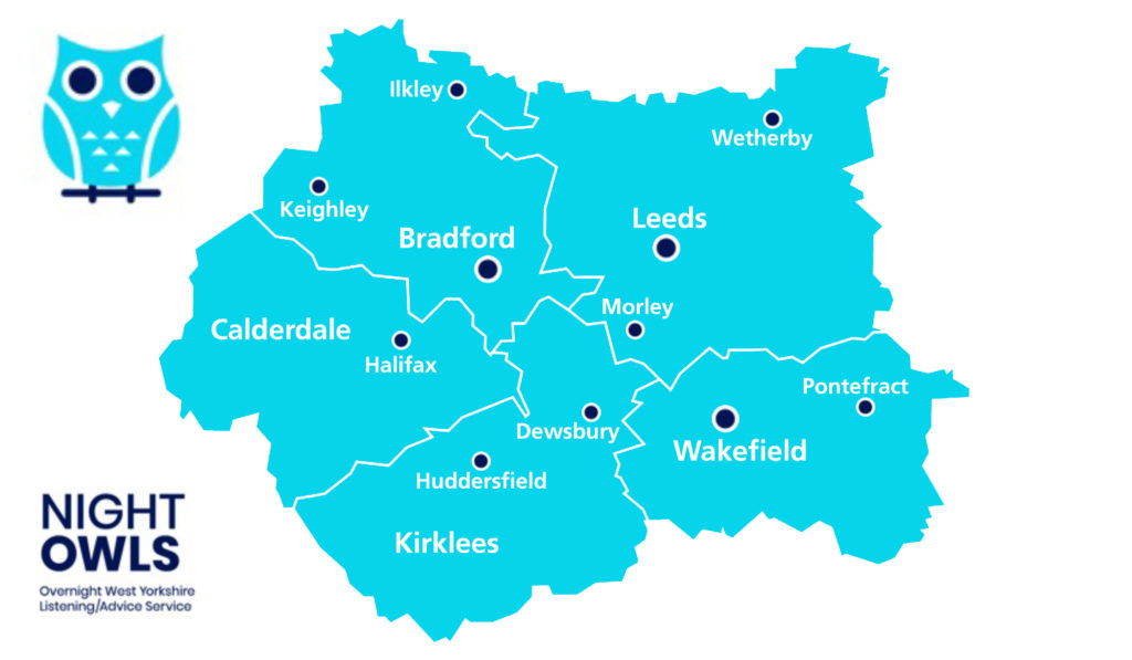 Image of a map of West Yorkshire with the Night Owls logo, showing that it operates across the whole county.